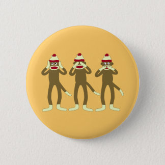 Hear, See, Speak No Evil Sock Monkeys 6 Cm Round Badge
