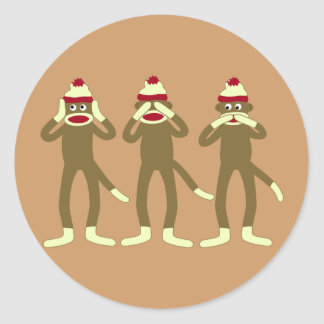 Hear, See, Speak No Evil Sock Monkeys Classic Round Sticker