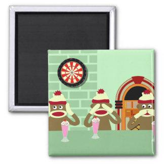 Hear, See, Speak No Evil Sock Monkeys Ice Cream Magnet