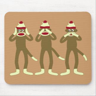 Hear, See, Speak No Evil Sock Monkeys Mouse Mat