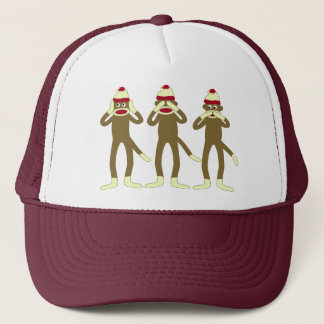 Hear, See, Speak No Evil Sock Monkeys Trucker Hat