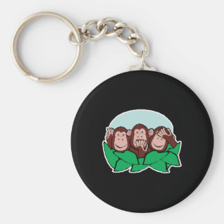 hear speak see no evil monkeys basic round button key ring