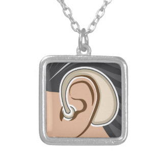 Hearing Aid Square Pendant Necklace