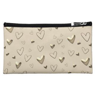 Hears Emboss Golden Elegant Glamorous Chic Makeup Bag