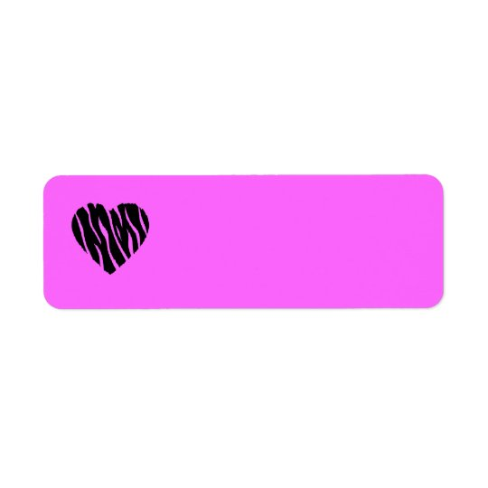 HEART35 ZEBRA HEART SHAPE LOVE GIRLY FUN PARTY RETURN ADDRESS LABEL