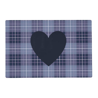 Heart (2Way) on Plaid Blues & Purples Laminated Place Mat