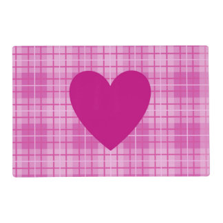 Heart (2Way) on Plaid Pinks Laminated Place Mat