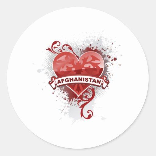 Heart Afghanistan Round Sticker