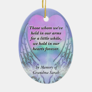 Heart and Angel Wings Memorial Christmas Ornament