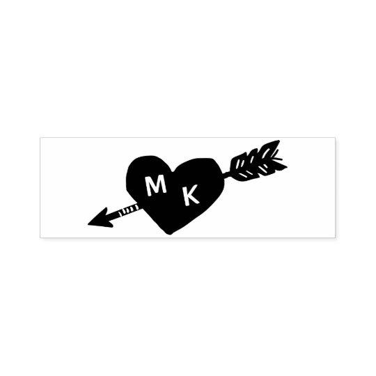 Heart and Arrow Custom Monogram Self-inking Stamp