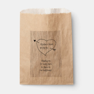 Heart and Arrow Wedding Message Favor Favour Bags