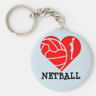 Heart and Ball  Silhouette Design Love Netball Key Ring