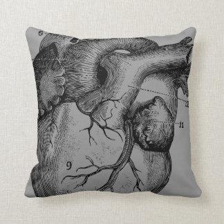 heart and brain - anatomy throw cushion