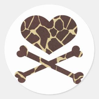 heart and cross bones giraffe classic round sticker