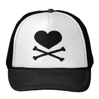 Heart and Cross Bones Mesh Hats