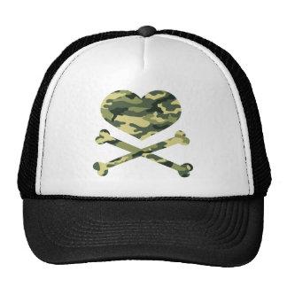 heart and cross bones light camo cap