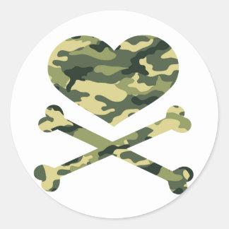 heart and cross bones light camo stickers