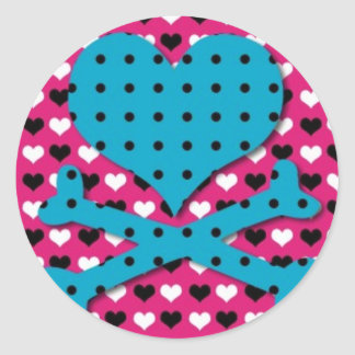 Heart and Cross Bones on Heart Background Round Sticker