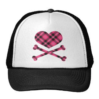 heart and cross bones pink black plaid cap