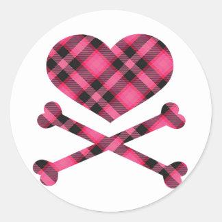 heart and cross bones pink black plaid round sticker