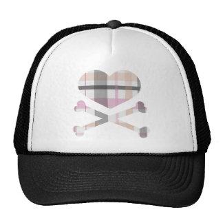 heart and cross bones pink grey plaid cap