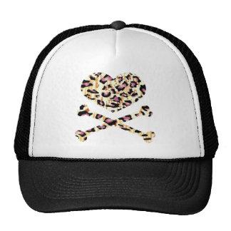 heart and cross bones pink leopared cap