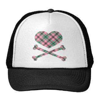 heart and cross bones pink teal plaid cap