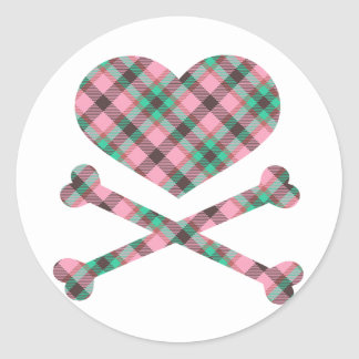 heart and cross bones pink teal plaid round sticker
