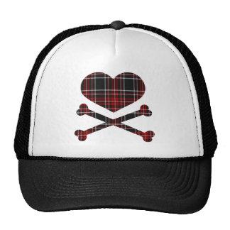 heart and cross bones red black plaid cap