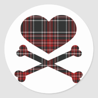 heart and cross bones red black plaid round sticker