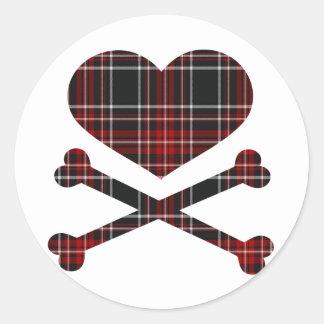 heart and cross bones red black plaid round sticker