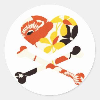 heart and cross bones retro flowers round sticker
