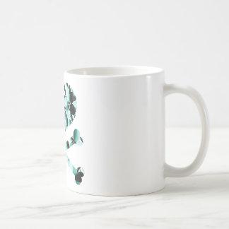heart and cross bones teal black flowers basic white mug