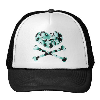 heart and cross bones teal black flowers cap