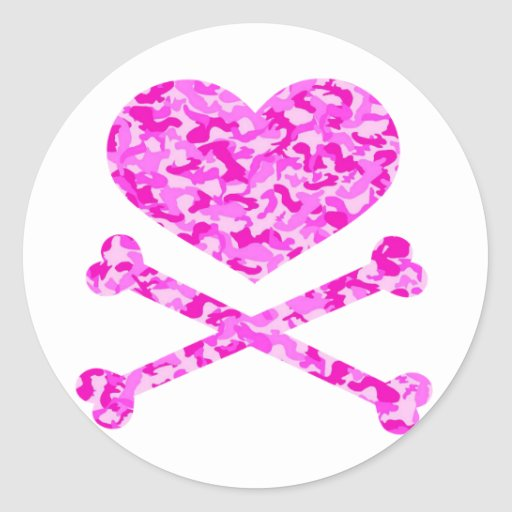 heart and cross bones urban camo pink round stickers
