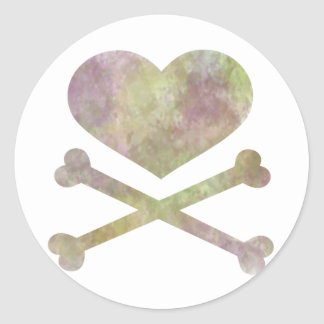 heart and cross bones water color round sticker