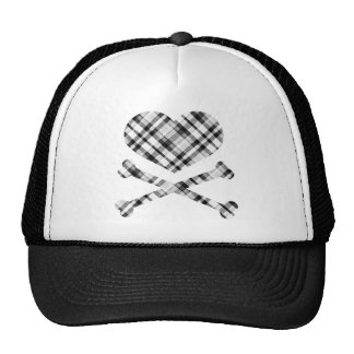 heart and cross bones white black plaid cap