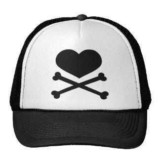 heart and crossbones black cap
