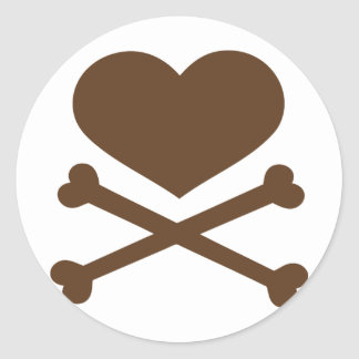 heart and crossbones brown round stickers