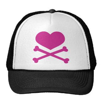 heart and crossbones hot pink cap