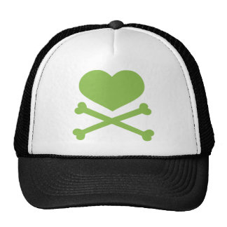 heart and crossbones lime green cap