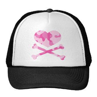 heart and crossbones pink camo cap