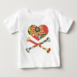 heart and crossbones retro flowers infant T-Shirt