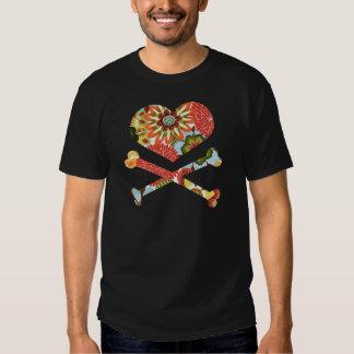 heart and crossbones retro flowers t shirt