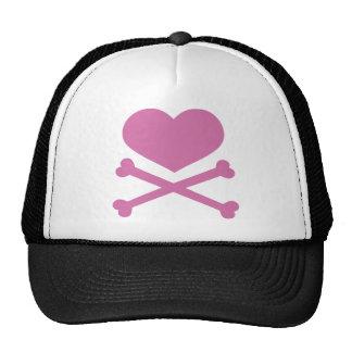 heart and crossbones soft pink cap
