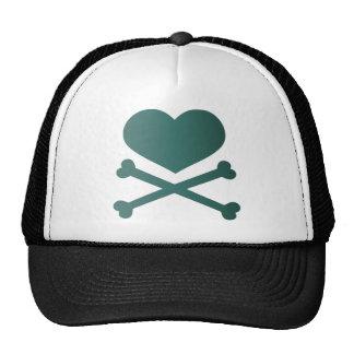 heart and crossbones teal gradient cap