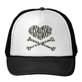 heart and crossbones zebra stripes cap