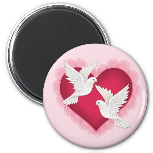 Heart and Doves - Pink Refrigerator Magnets