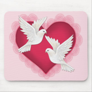 Heart and Doves - Pink Mouse Mat