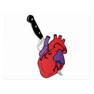 heart and knife postcard
